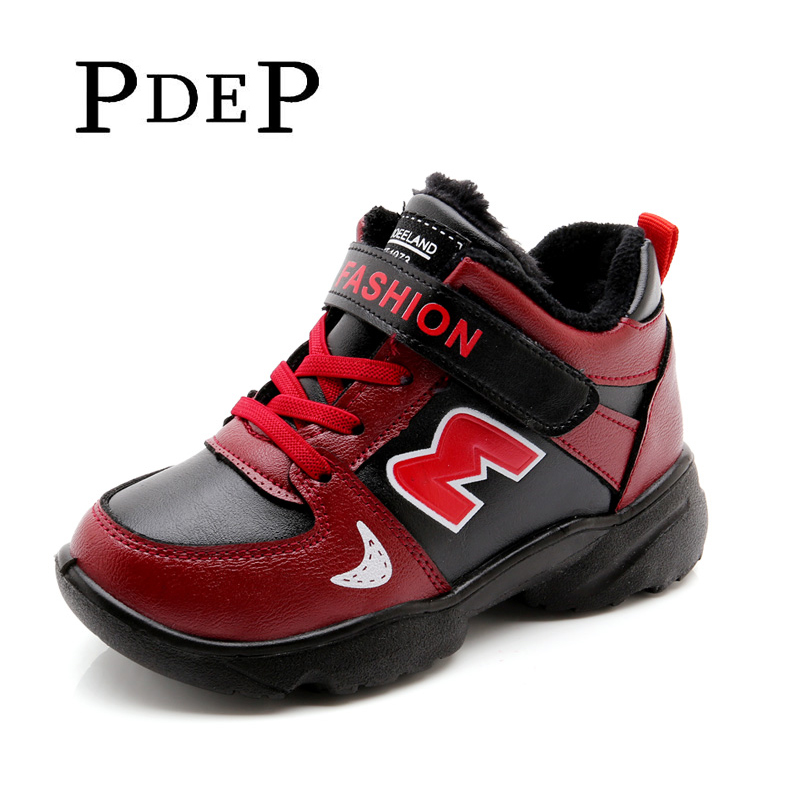 PDEP School Boy Winter Casual Sneakers Shoes Warm Kids Black Red Casual Boots Shoes Plush Platforms Sneakers In Winter