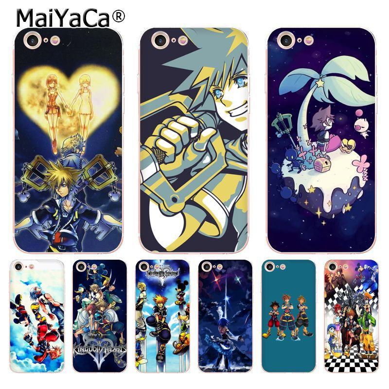 MaiYaCa Anime Kingdom Hearts Stained Glass soft tpu phone case cover for iPhone X 6 6s 7 7plus 8 8Plus 4 4S 5 5S 5C case coque