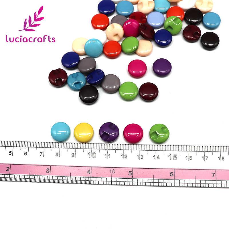 Lucia Kerajinan 12 Pcs/48 Pcs 12.5 Mm Secara Acak Permen Warna Resin Tombol Diy Scrapbooking Menjahit Pakaian Kemeja Dekorasi e0508