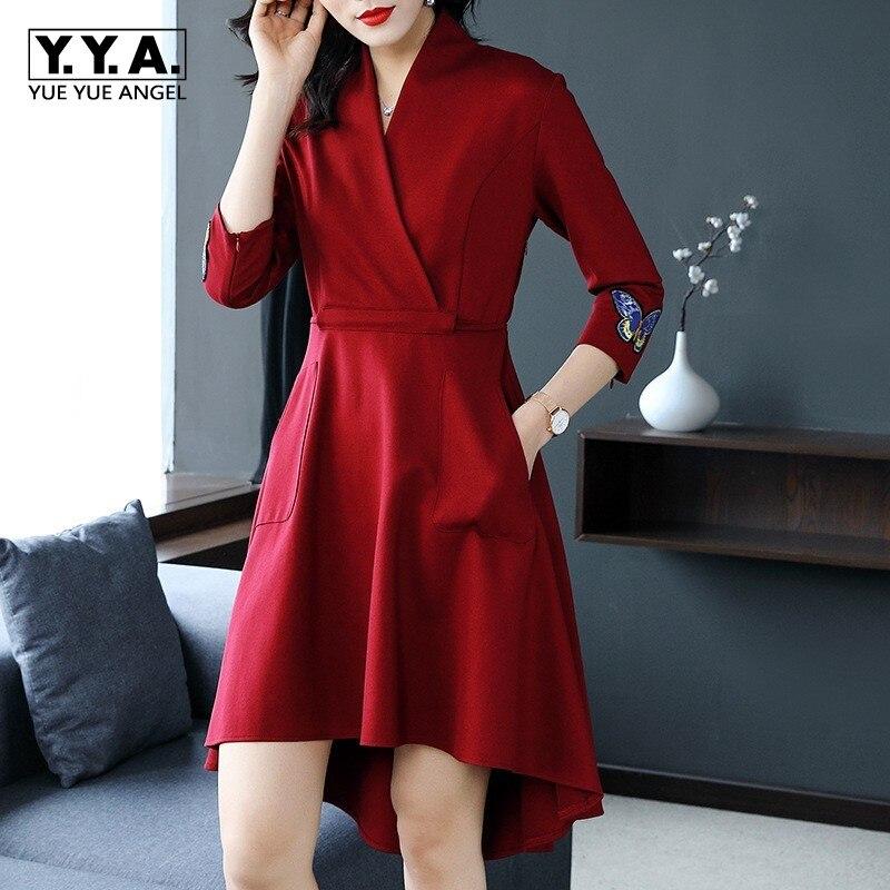 Femmes Pour Office Ol Automne Robes Lady 1 Trois Sukienki Élégantes Embroideryred Robe Chemise Printemps 2 2019 Quarts WBXYqwUF
