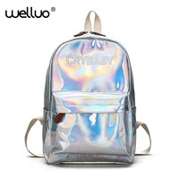 Summer New Fashion Hologram Laser Backpack Female Student PU Leisure Travel Backpack Casual Multicolor Bag For