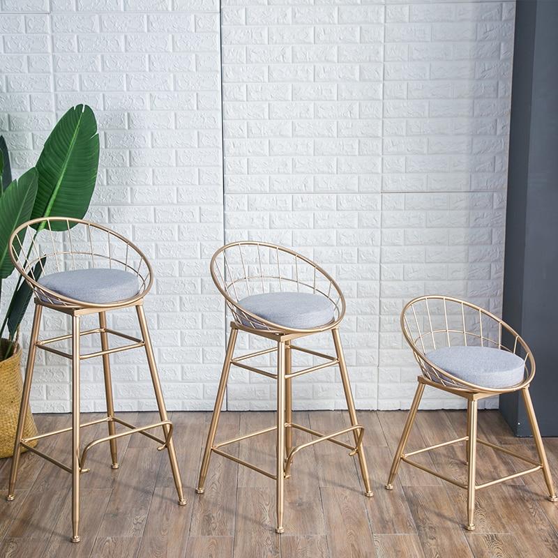 Nouveau Nordicr chaise de bar en fer or famille tabouret haut chaise de salle à manger moderne chaise de bar en métal tabouret de bar meubles de Bar 3 tailles