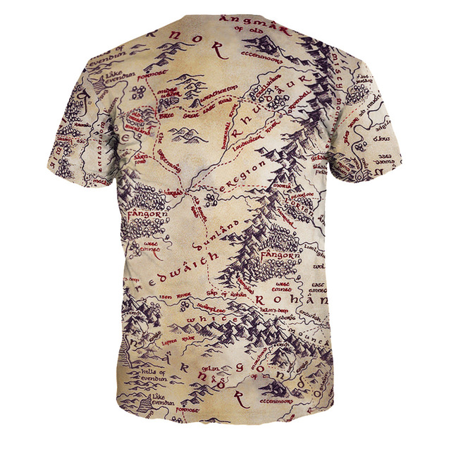 The Lord of the Rings Map PrintedT-shirt