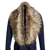 NIEUWE Mode Trendy Winter Vrouwen Warm Faux Bontkraag Shawl Wrap Sjaal Schouderophalen onderaan de bruin zwart tip