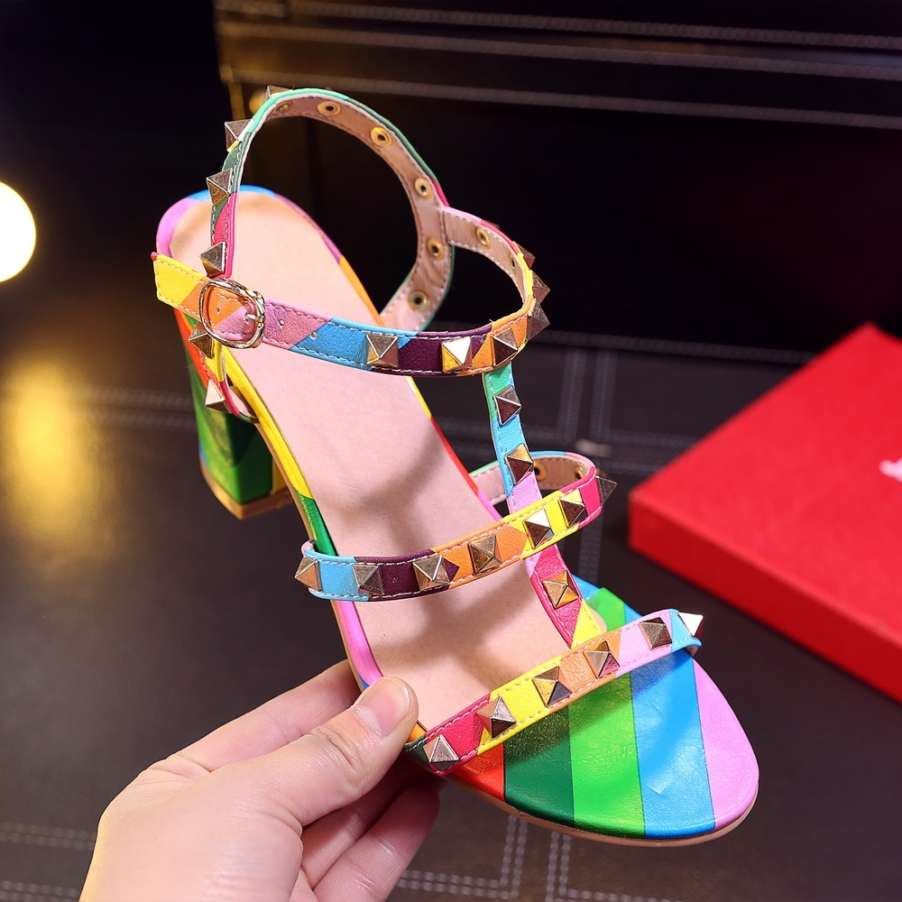 Fashion 2019 Mixed Colors Women Sandals Summer High Heels Ladies Party Wedding Shoes Woman Dress Shoes Big Size 43 Sandals Woman in High Heels from Shoes