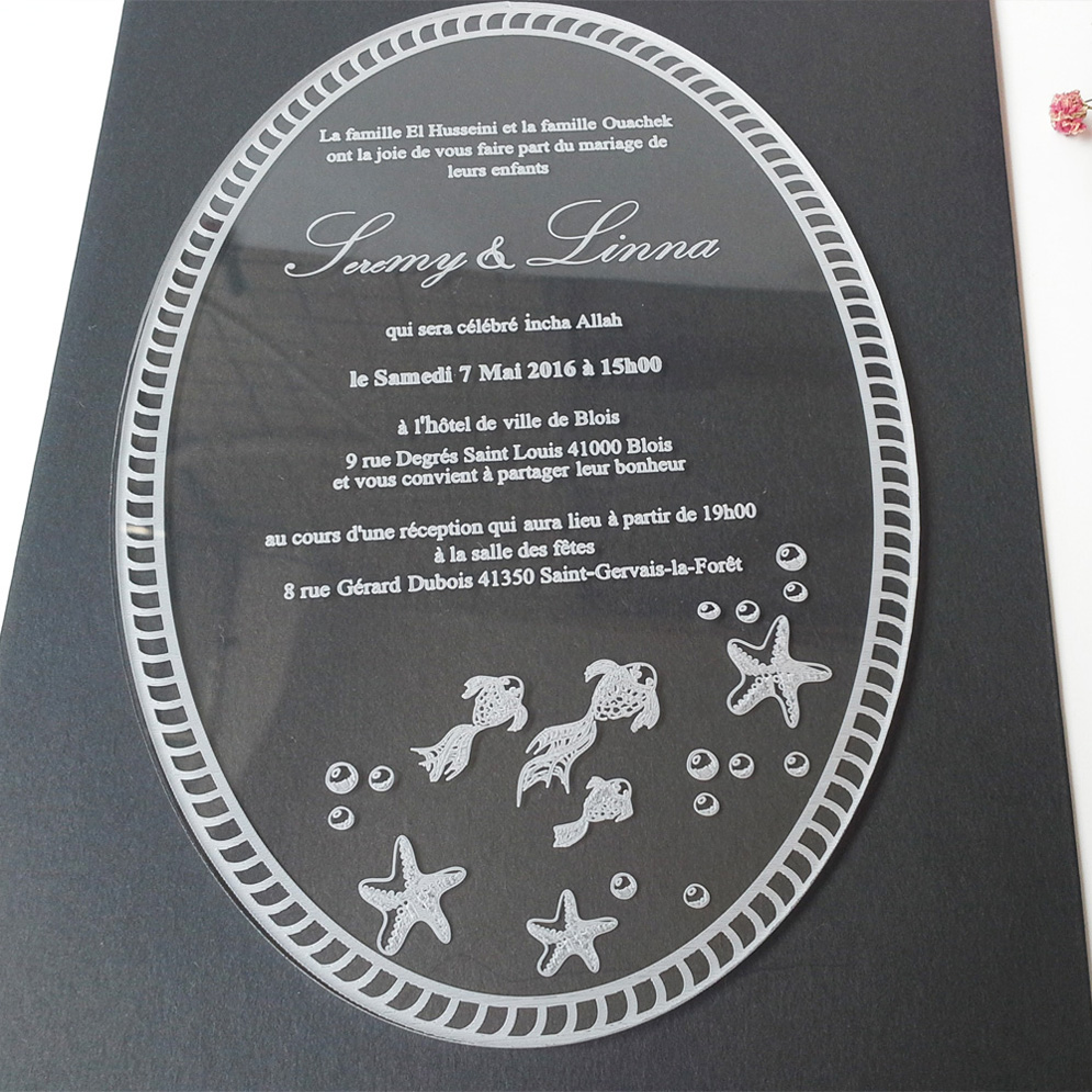 Sample Order For 5*7inch Laser Engraving Letters Oval Shape Clear Acrylic  Wedding Invitations Elegant
