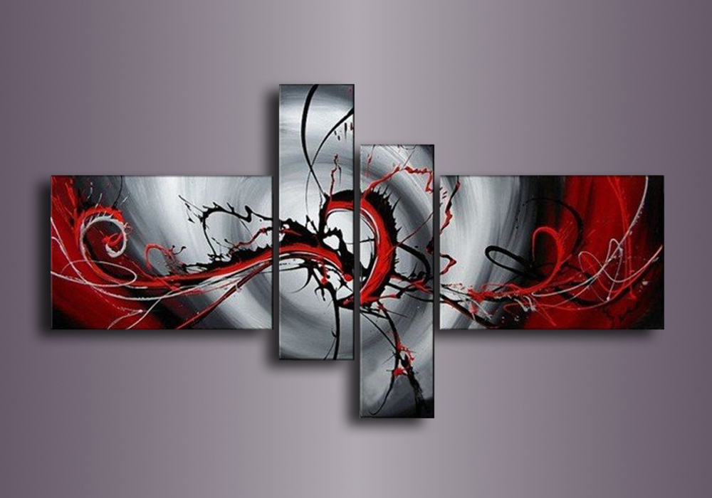 Black Red 100% Hand Painted Abstract Wall Art Canvas Oil