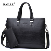 BAILLR Brand 2017 Fashion Men Bag Briefcases Bags High Quality Pu Leather Men Business Bag With