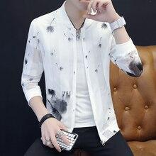 Summer Jackets Men Fashion Clothing Coat Streetwear Print Hollow Collar Slim Stand Sun-Protection