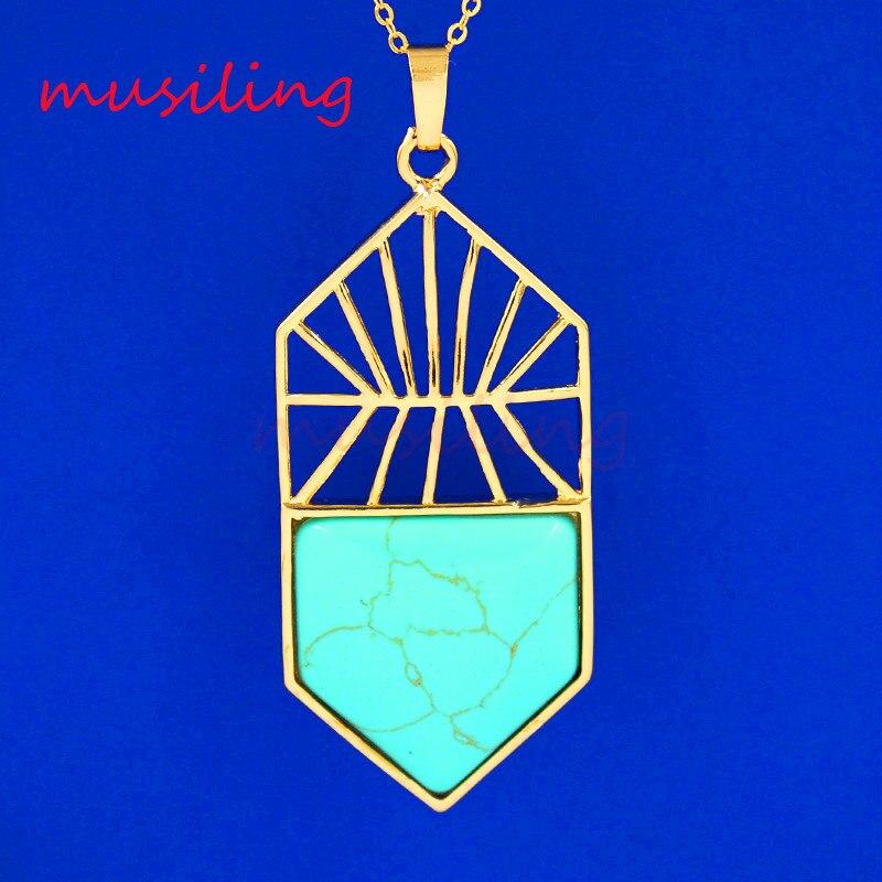 Pendants Golden Plated Natural Stone Basketball Hoop Mascot Reiki Pendulum Charms Amulet European Fashion Jewelry 10Pcs