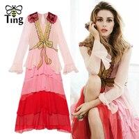 Tingfly Runway Summer Luxury Dress Woman Sexy Deep V Neck Ruffles Color Block Sequined Bow Vestidos Magazine Designer Dress