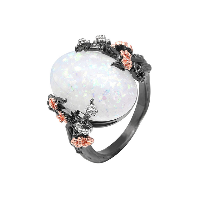 Beautiful Tree & Flower Ring Jewelry Black Gold Filled Romantic CZ Big White Fir