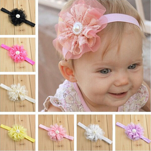 TWDVS  Flowers headband Kids Beautiful Lace Flower Hair Band Kids Headband Flowers Headwear Hair Accessories W034 bebe girls flower headband four felt rose flowers head band elastic hairbands rainbow headwear hair accessories