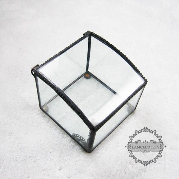8*8*8cm geometric cube jewelry box air plant planter glass terrarium flower arrangement indoor gradening 0100040