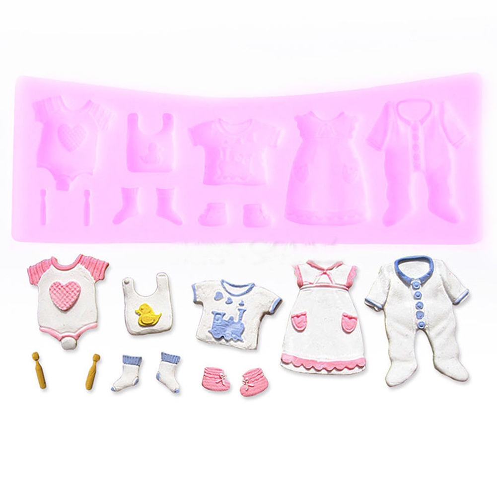 Pink Baby Shower Clothes Shoes Design Silicone Fondant Mould