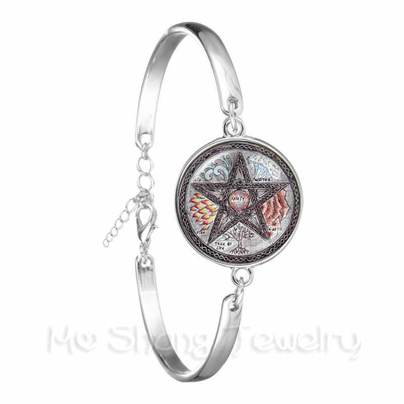 Silver Plated Bracelet Occult Inverted Star Sign Pentagram Satanic Pentagram Star Symbols Glass Dome Bangle For Women Jewelry