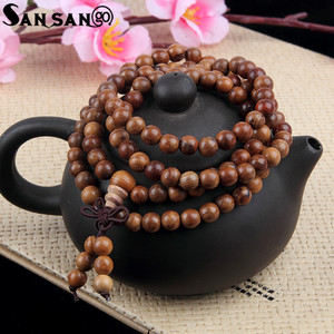 Image 4 - Religious Jewelry Sandalwood Buddhist Buddha 108 Prayer Bead Wooden Bracelet Woman Men Meditation Mala Bangle Jewelry 8mm Beads