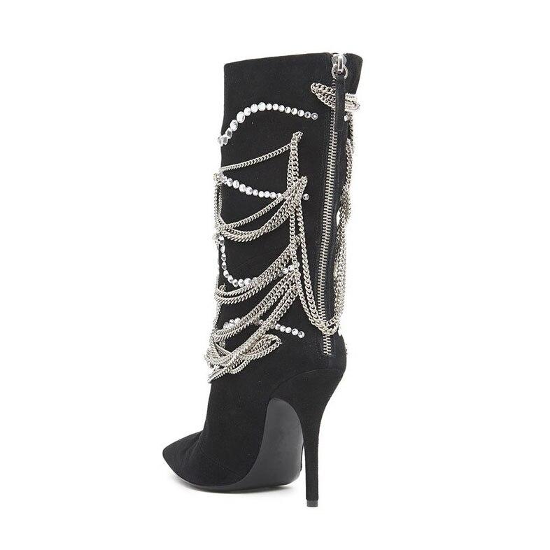 12cm De Botas Venta 10cm Mediados Negro 2019 Alto Bota Heel Heel becerro Las Zapatos Dedo Pie De Otoño Caliente Mujeres Mujer Del Femenina Tacón Decoración Botines Cadena OrO7g4