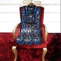 2017 Взлетно-Посадочной Полосы Дизайнер Последние Весна Лето Dress женщин Высокого Качества С Длинными Рукавами Лоскутная Сексуальная Выдалбливают синий Dress