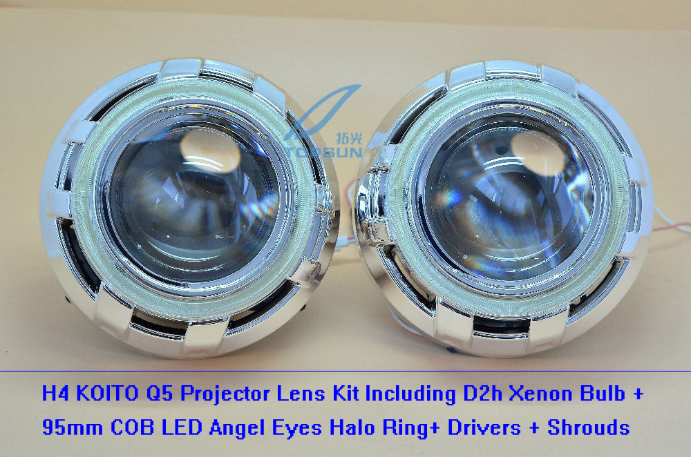 GZTOPHID 3 Inches q5 Bi-xenon H4 HID Projector Lens Headlights Using Xenon Bulb D2H With COB Angel Eyes and Shrouds h4 socket 1pc 2 5 hid xenon ultimate bi xenon projector lens parking car styling headlight diy lamp for h1bulb with shrouds h4 h7 socket