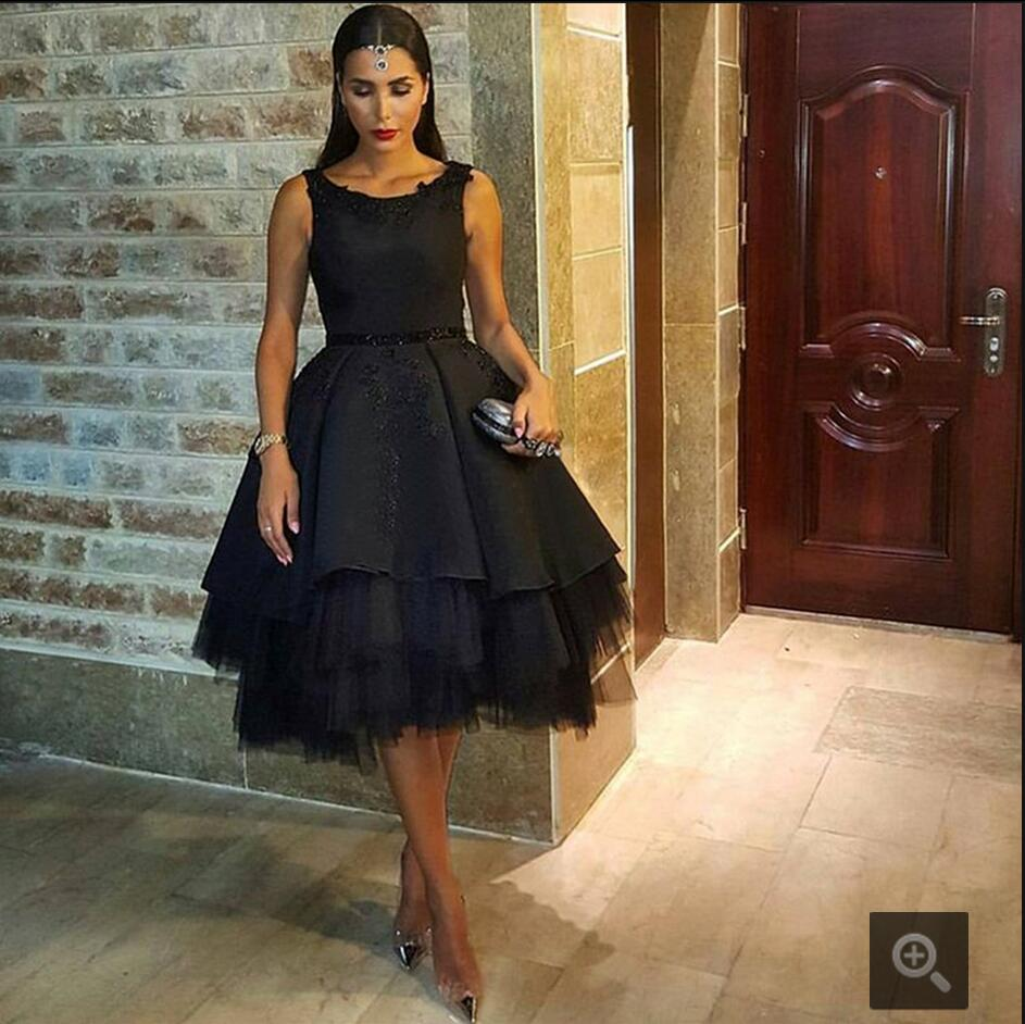 Black dress for prom night - 2016 Fashion Formal Black Ball Gowns Prom Dress Sequin Appliques Tulle Celebrity Prom Dresses Short Sheer
