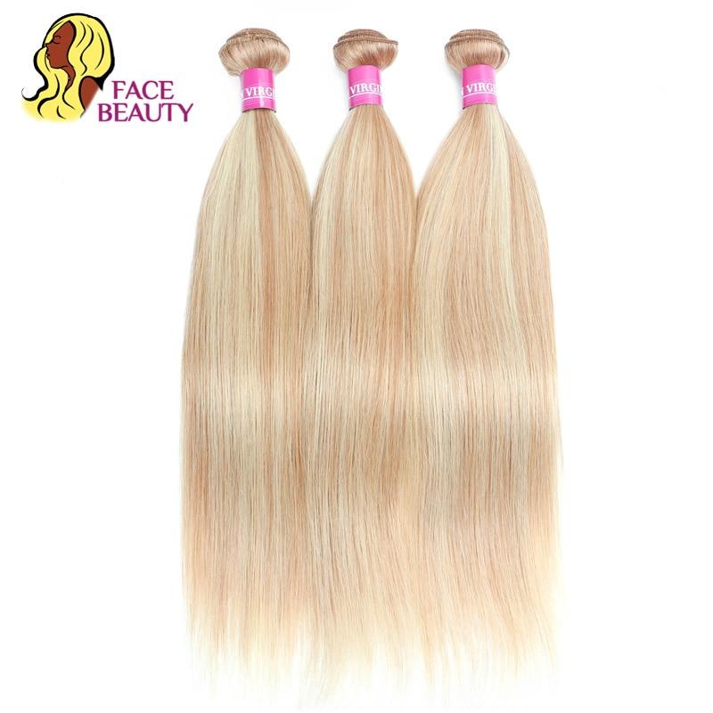 Facebeauty P27 613 2 Tone Highlight Blonde Human Hair 1 3 4 Bundles Piano Color Straight