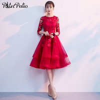 Elegant O neck With Lace Half Sleeves Ball Gown Red Homecoming Dresses Short Tulle Graduation Dresses Plus Size 2019