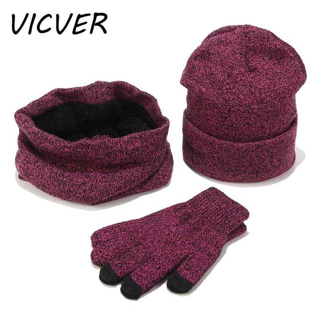 Moda sombreros de invierno bufanda guantes para hombres mujeres invierno  algodón grueso accesorios Set mujer hombre f2e96cf8619