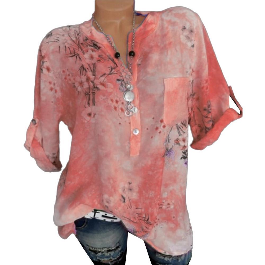 Plus Size Fashion Flower Print V Neck Lady Patch Pocket Long Sleeve Shirt Blouse Hot