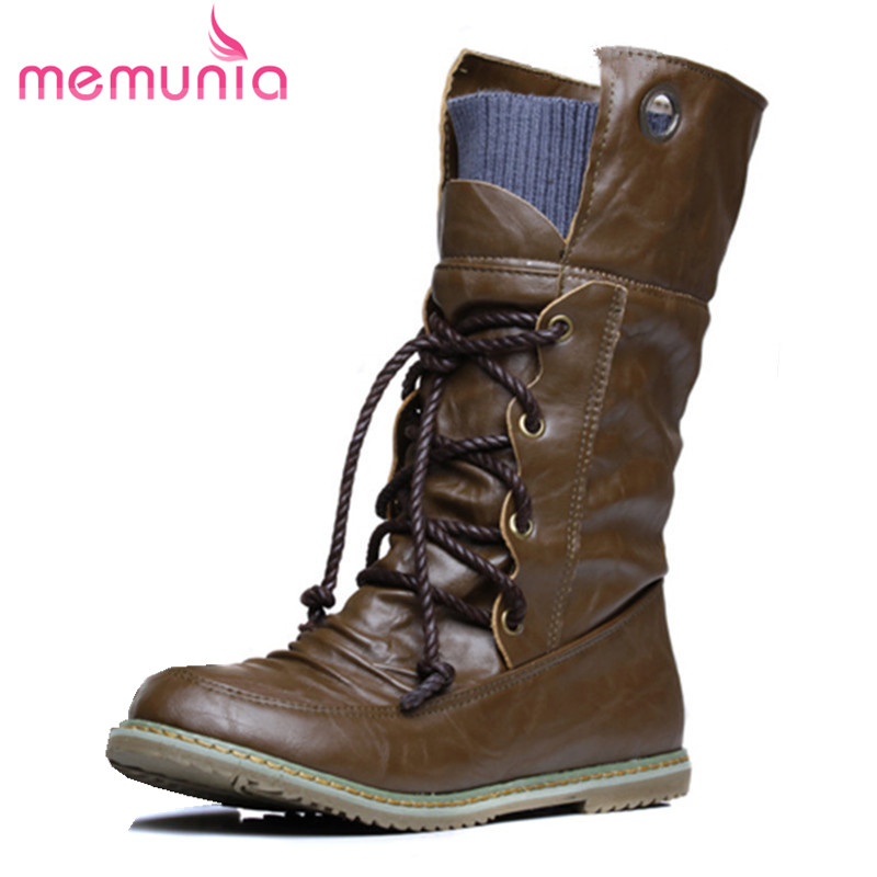 MEMUNIA New fashion motorcycle martin ankle boots for woman spring autumn boots PU leather women shoes plus size 34-43 zhen zhou 2017 spring and autumn women s new fashion trend leadership the increased martin boots exemption from postage