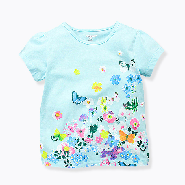 97877c9bd Toddler Girl Summer Tops Casual Flower Printed Shirts for Kids Soft Cotton  Baby Girls T-shirts Brand Children Clothing 1-6 Yrs