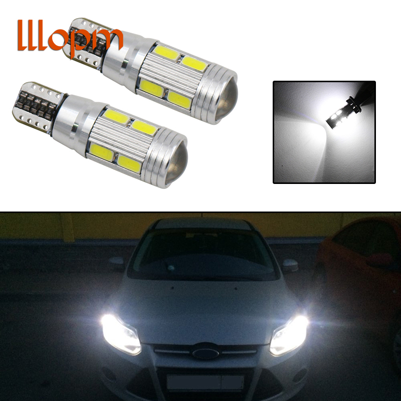 2Pcs Canbus Car LED T10 W5W 10LED Parking Light For Ford Focus 2 1 Fiesta Mondeo 4 3 Transit Fusion Kuga Ranger Mustang KA S-max wljh 2x canbus car 5630 smd t10 led w5w projector lens auto lamp light bulbs for ford focus 2 3 fiesta mondeo ecosport kuga drl