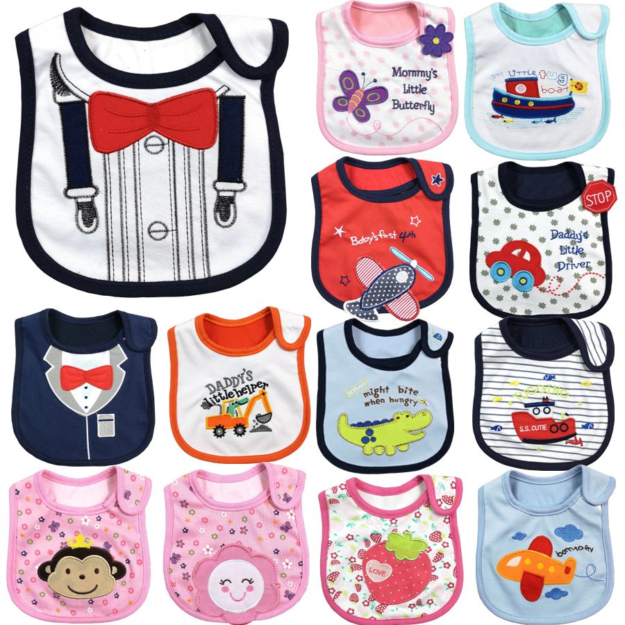 Baby Bibs Burp Cloth Infant Cotton Meal-Bib Adjustable Triangle Print DS19