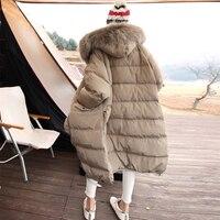 Зимние женские пуховик с капюшоном Высокое качество Утолщенная теплая верхняя одежда действительно большой енот меховой воротник белая ут