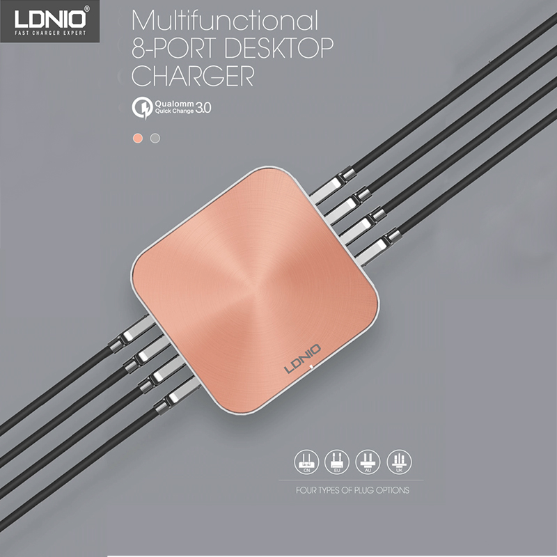 ldnio a8101 - LDNIO A8101 Quick Charger 3.0 8 Ports USB Charger For iPhone iPad Samsung Multiple Charging 5V 10A