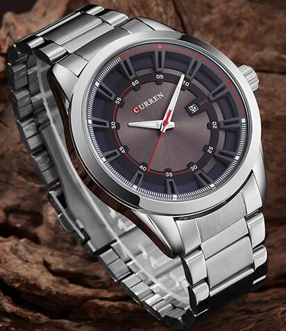 CURREN Business Men Watches Fashion Casual Display Date Army Military Quartz Male Clock Waterproof Mens Steel Wristwatch
