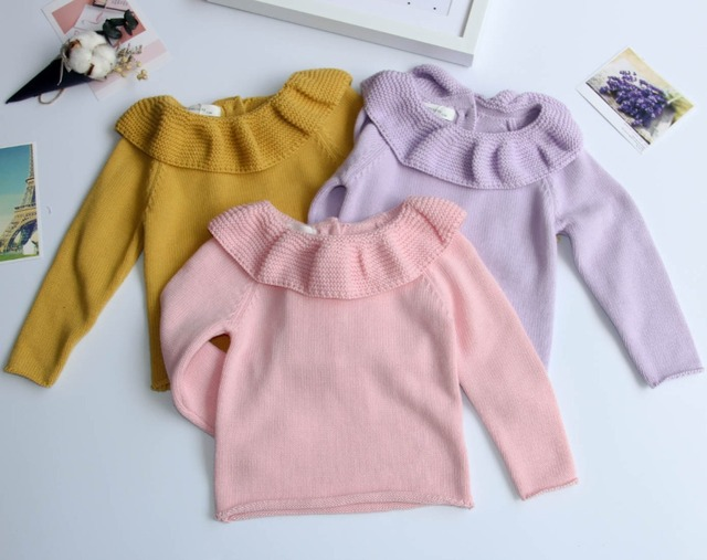 2016 New Baby Girls Sweaters Jumper Autumn Winter Children Knitted Pullover Warm Kids Outerwear Turtleneck Sweater Ruffles Solid