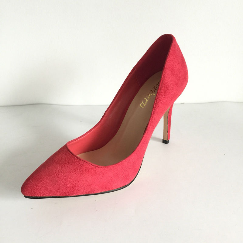 Red Faux Suede Pointed Toe Female Pumps Mature Shoes Women Stilettos High Heels Slip-On Evening Party Spring Women Shoes mature women slip on pumps high heels stilettos pointed toe party shoes work shoes sexy ladies nightclubs pumps zapatos mujer page 4