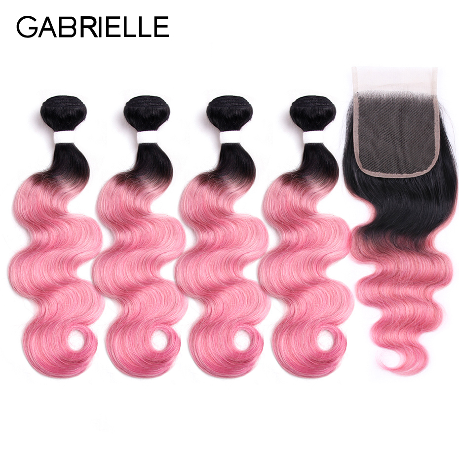 Gabrielle Peruvian Body Wave Hair 4 Bundles with Lace Closure Ot Rose Pink Non Remy Ombre Human Hair Weaves Free Shipping