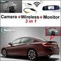 3 in1 Especial Cámara de Visión Trasera + Receptor Inalámbrico + sistema de aparcamiento monitor del espejo para honda para accord 9 generación 2014 ~ 2015