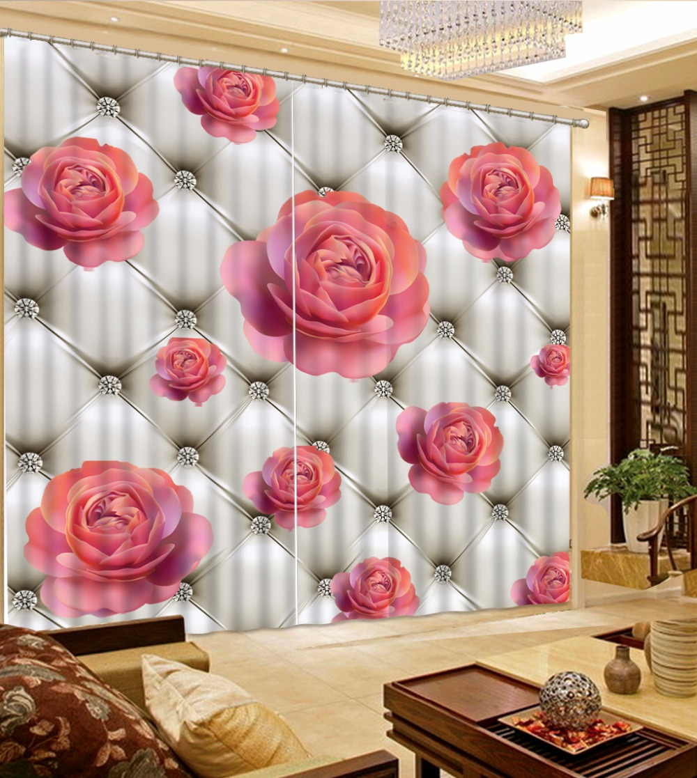 Us 57 54 58 Off Blackout Window Curtain Red Rose Curtains For Living Room Bedroom Luxury Curtains For Liviing Room Romantic Drapes In Curtains From