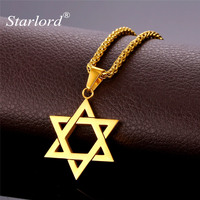 Star Of David Pendant Necklace Jewelry Gift Vintage Stainless Steel 18K Real Gold Plated Chain Charms
