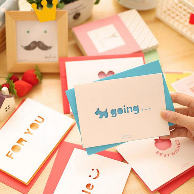 10pcs/pack Creative Heart To Heart Greeting Card Colored Envelopes Blessing Cards Mother's Day / Valentine's Day / Birthday retro hollow kraft paper greeting card creative business gift card father s mothers day blessing card wedding cards 10pcs pack