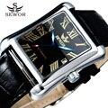 2017 roman sewor marca auto data retângulo negócio pulseira de couro relógio de ouro automático mecânica relógios relogio masculino
