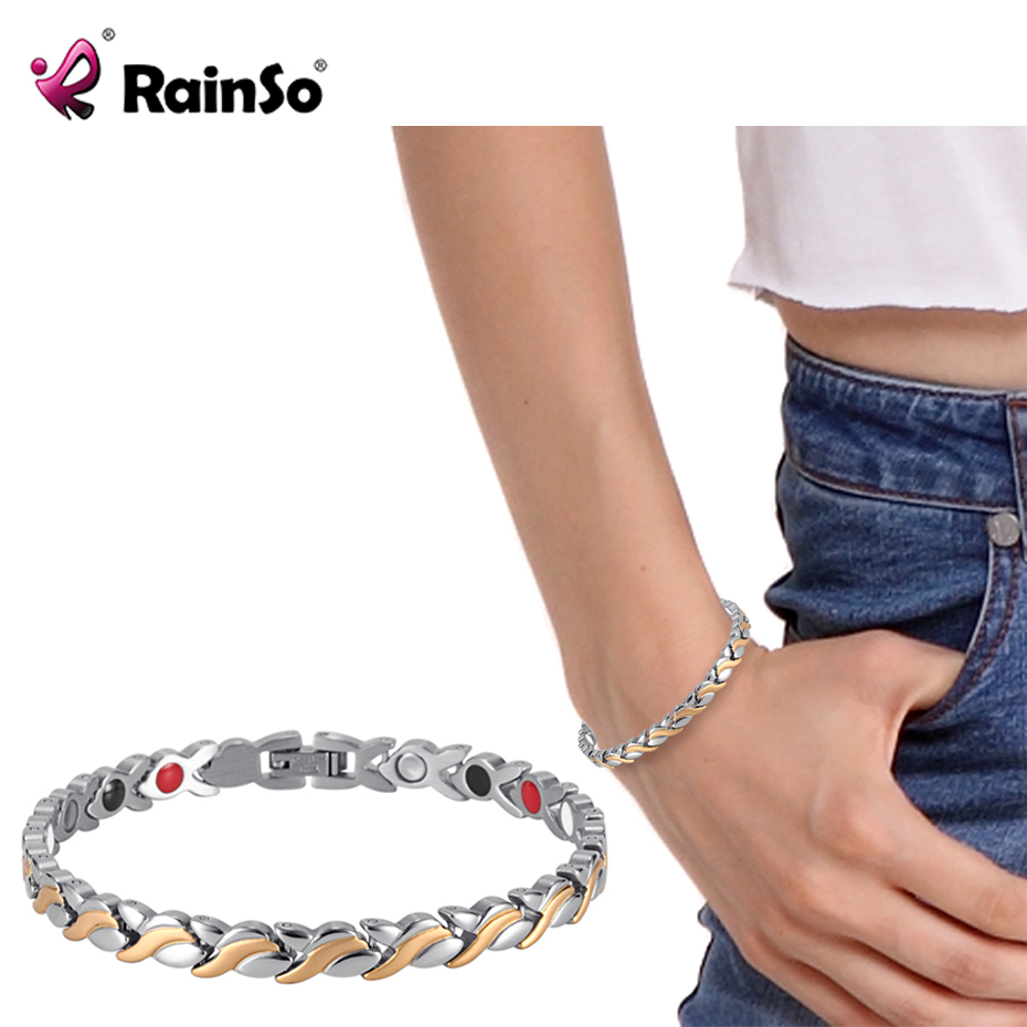 RainSo Weiblichen Charme armband Germanium Link Kette Gesundheit Magnetische Armband Für Frauen Bio Energie Schmuck für Arthritis OSB-1551