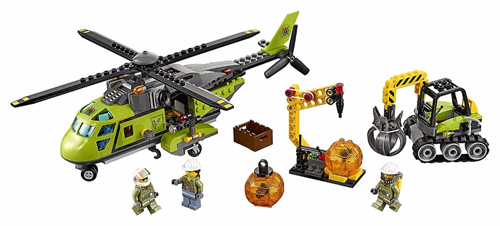 Models building toy Building Blocks Volcano Supply Helicopter Excavator boulder opener tool compatible with lego City 60123