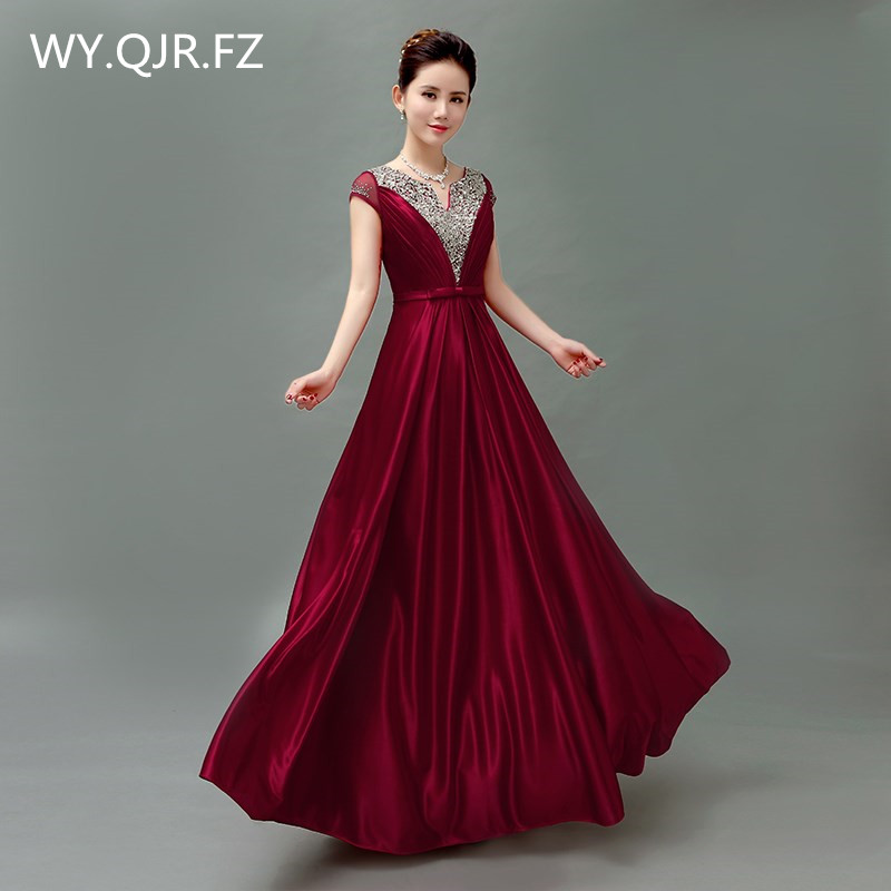 QLY5189J#Wine Red blue purple Lace up bride' wedding toastery hostess's chorus costume long   Bridesmaid     dresses   wholesale China