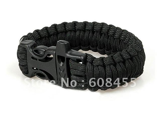 Paracord 550 Rope Survival Bracelet Free Shipping Whole Black Whistle