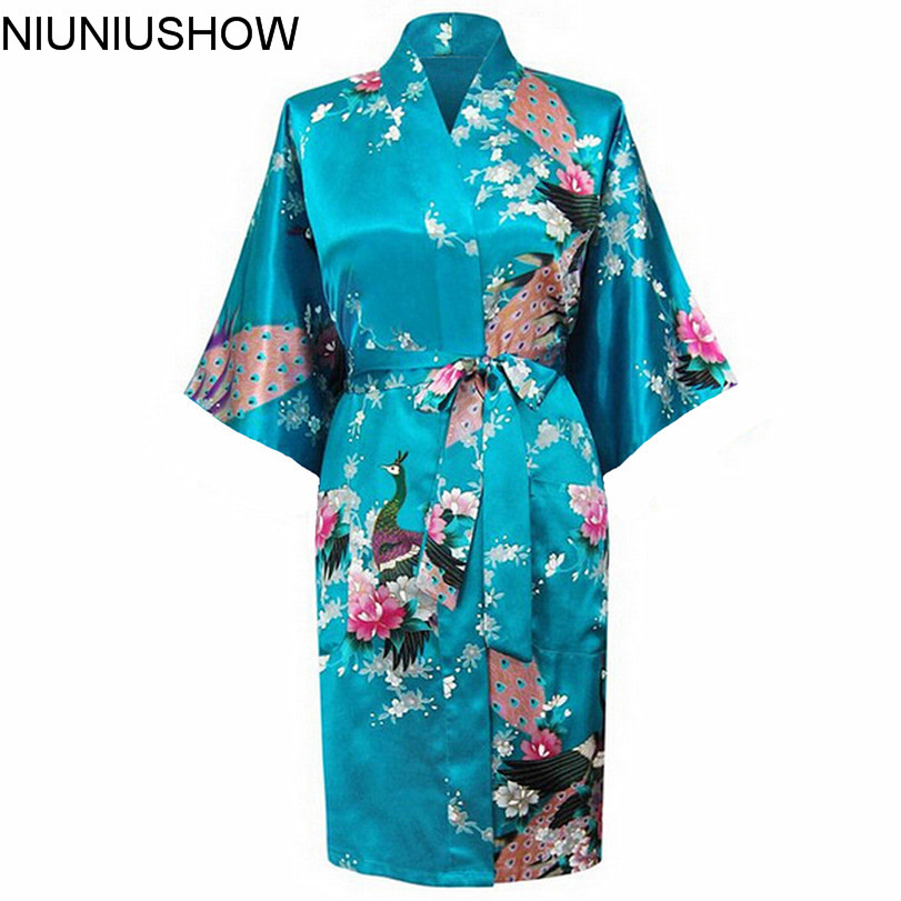 Hot Sale Blue Female Satin Kimono Gown Classic Style Bathrobe Printed Peacock&Floral Sleepwear Size S M L XL XXL XXXL hot sale creative style s size women s hair tool
