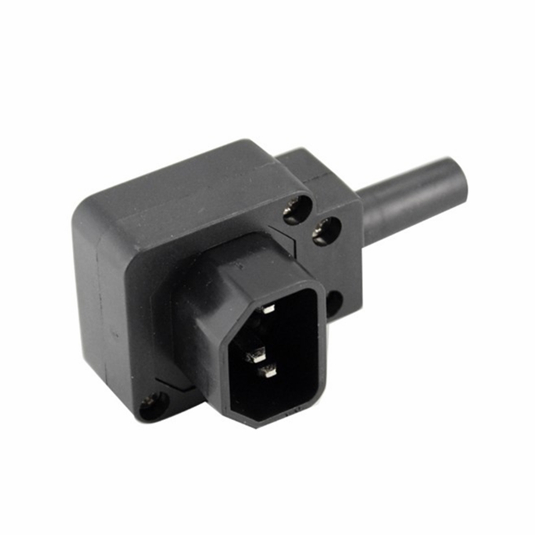 IEC320 C14 Down Angle Male Plug AC Power Cord/Cable Connector, 90 Degree C14 Power Plug, ...